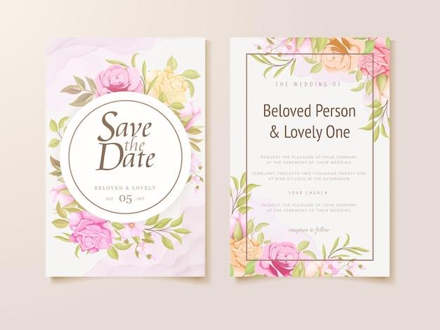 Blumenhochzeitseinladungs-kartenschablonendesign