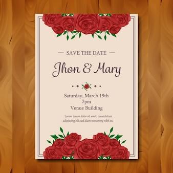 Blumenhochzeitseinladungsentwurf
