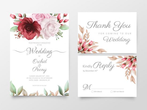 Blumenhochzeitseinladungskarten-schablonensatz mit aquarellrosen und pfingstrosenblumen
