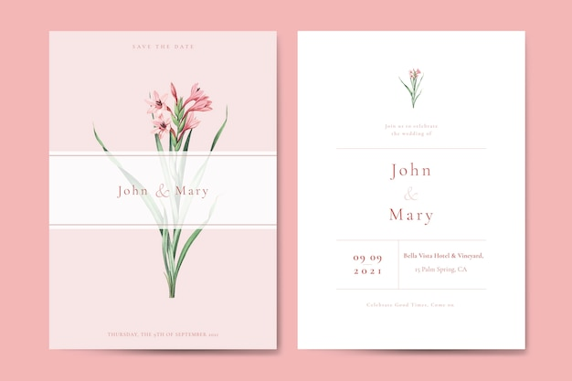 Blumenhochzeitseinladungskarten-schablonenvektor
