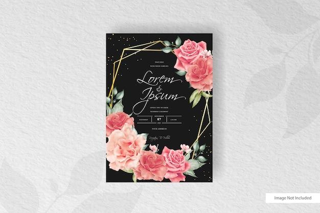 Blumenhochzeitseinladungskartenschablone der anordnung