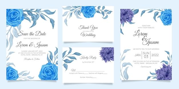Blumenhochzeitseinladungskartenschablone eingestellt mit blumengrenzblau verlässt