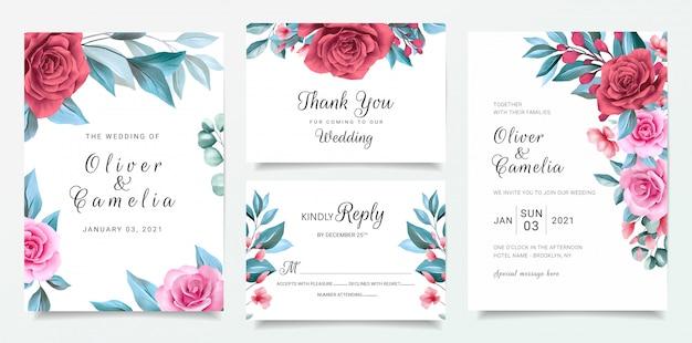 Blumenhochzeitseinladungskartenschablone stellte mit blumenrand und blauen blättern ein
