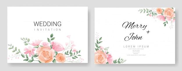 Blumenhochzeitseinladungskartenschablonen-aquarellart