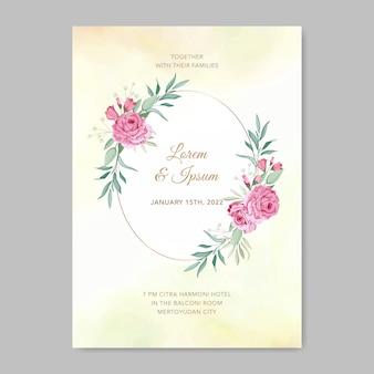 Blumenhochzeitseinladungskartenschablonenrosenblume