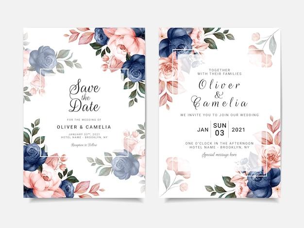 Blumenhochzeitseinladungsschablone gesetzt mit blauen rosenblumen- und blattdekoration. designkonzept für botanische karten