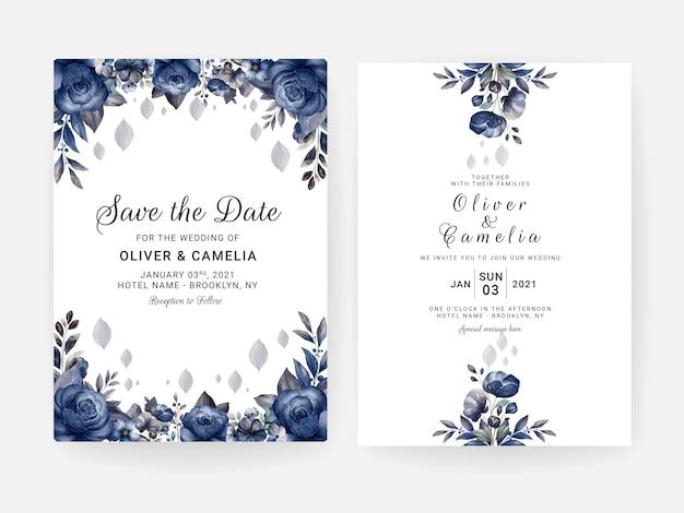 Blumenhochzeitseinladungsschablone gesetzt mit blauen und braunen rosenblumen- und blattdekoration. designkonzept für botanische karten