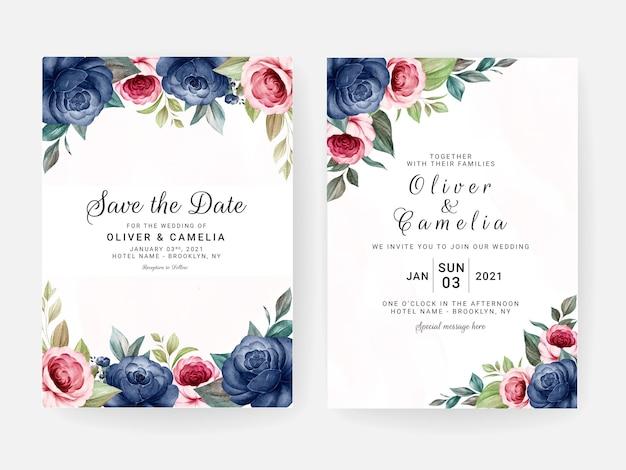 Blumenhochzeitseinladungsschablone gesetzt mit blauen und roten rosenblumen- und blattdekoration. designkonzept für botanische karten