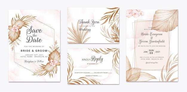 Blumenhochzeitseinladungsschablone gesetzt mit braunen blumen und blattdekoration. designkonzept für botanische karten