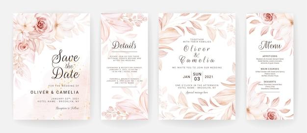 Blumenhochzeitseinladungsschablone gesetzt mit braunen rosenblumen- und blattdekoration.