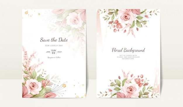 Blumenhochzeitseinladungsschablone gesetzt mit brauner aquarellrose und blattdekoration. designkonzept für botanische karten