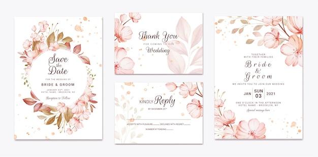 Blumenhochzeitseinladungsschablone gesetzt mit brauner sakura blumen und blätter dekoration. designkonzept für botanische karten