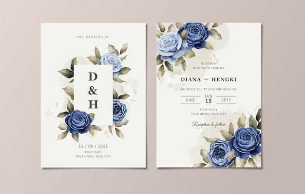 Blumenhochzeitseinladungsschablone gesetzt mit eleganten dunkelblauen rosen und blättern