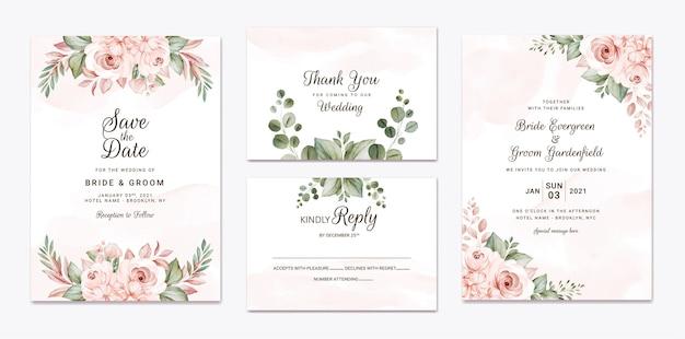 Blumenhochzeitseinladungsschablone gesetzt mit weißen und pfirsichrosen blumen- und blattdekoration. designkonzept für botanische karten