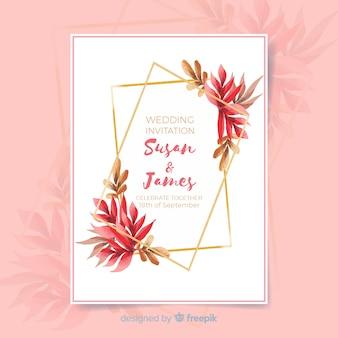 Blumenhochzeitseinladungsschablone mit goldenem rahmen