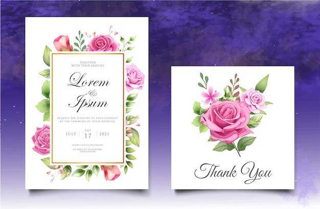 Blumenhochzeitseinladungsschablone mit schönen blumen und blättern