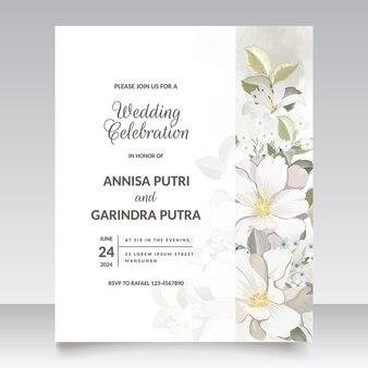 Blumenhochzeitseinladungsschablone stellte mit weißer blume und blätter ein