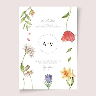 Blumenhochzeitseinladungsschablone