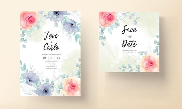 Blumenhochzeitseinladungsschablonensatz mit schönen blumen- und blattdekoration