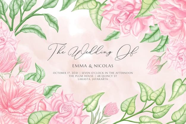 Blumenhochzeitsfahnenschablone eingestellt mit rosa rosenblumen und -blättern