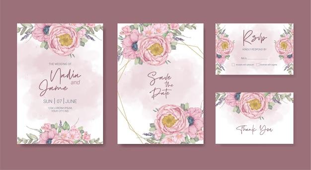 Blumenhochzeitskartenaquarellschablone