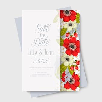 Blumenhochzeitskarteneinladung.