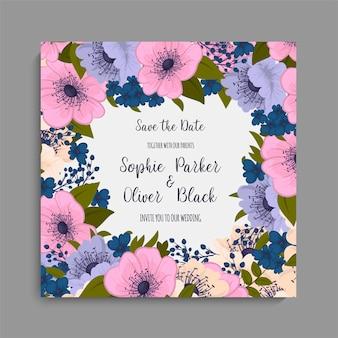 Blumenhochzeitskartenschablone mit purpurroter blume