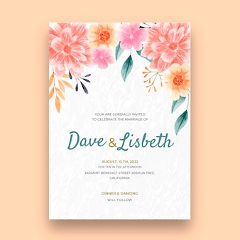 Blumenhochzeitskartenvorlage