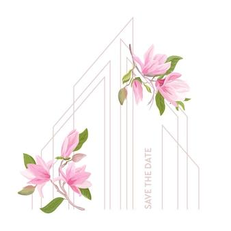 Blumenhochzeitsrahmen, boho-magnolienblumen-aquarellschablone. einladung vektor-grußkarte. modernes pastellfarbenes botanisches design mit blumen, blättern, blüten