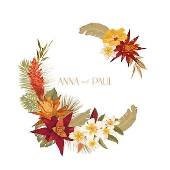 Blumenhochzeitsrahmen, einladungs-gruß-vektor-karte, boho trockene blumen-aquarell-schablone. modernes pastellfarbenes botanisches design mit anemone, dahlie, protea