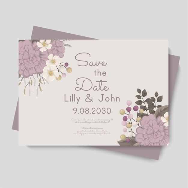 Blumenhochzeitsschablone - lila blumenkarte