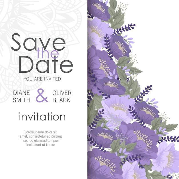 Blumenhochzeitsschablone - purpurrote blumenkarte