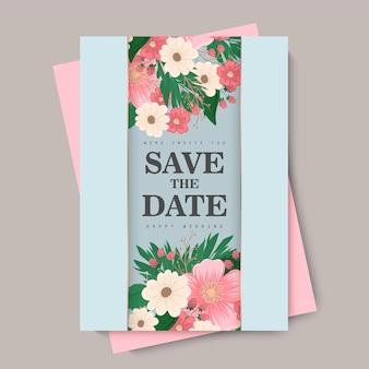 Blumenhochzeitsschablone - rosa blumenkarte