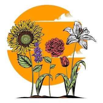 Blumenillustration mit volltonfarbe