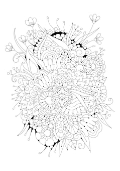 Blumenillustration zum färben. schwarz-weißer hintergrund.