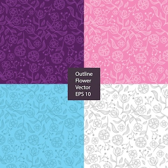 Blumenillustrations-musterentwurf umreißen