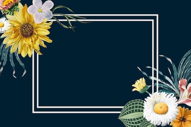 Blumenillustrationsweinleserahmenvektor