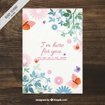 Blumenkarte mit schmetterlingen