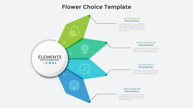 Blumenkarte mit vier bunten durchscheinenden blütenblättern. saubere infografik-design-vorlage. konzept von 4 geschäftsoptionen zur auswahl. moderne vektorillustration für präsentation, banner, broschüre.