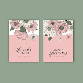 Blumenkartenschablone mit aquarellillustration des frühlingslinienkunstkonzeptdesigns