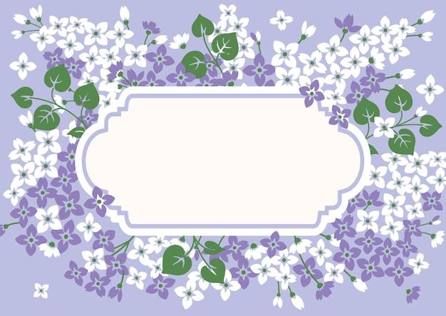 Blumenkartenschablone mit flieder und leerem rahmen