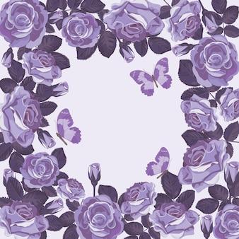 Blumenkartenschablone mit violetten rosen und schmetterlingen