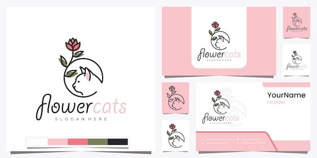 Blumenkatzen mit schöner strichgrafik-logo-design-inspiration
