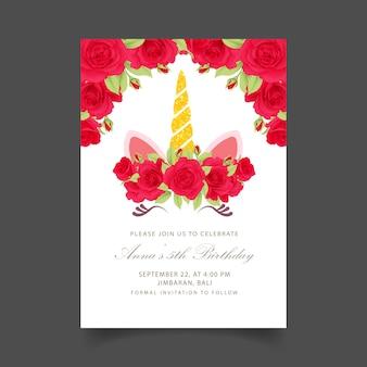Blumenkinder-geburtstagseinladung mit niedlichem einhorn