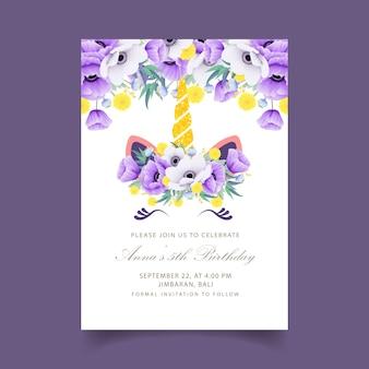Blumenkindergeburtstagseinladung mit nettem einhorn