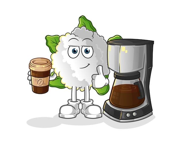 Blumenkohl, der kaffeeillustration trinkt