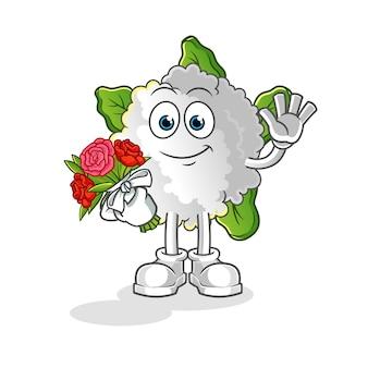 Blumenkohl mit strauß maskottchen