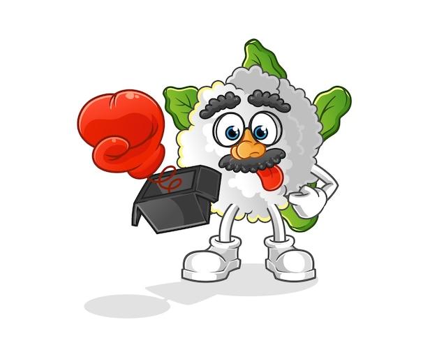Blumenkohl streich mit handschuh in box cartoon