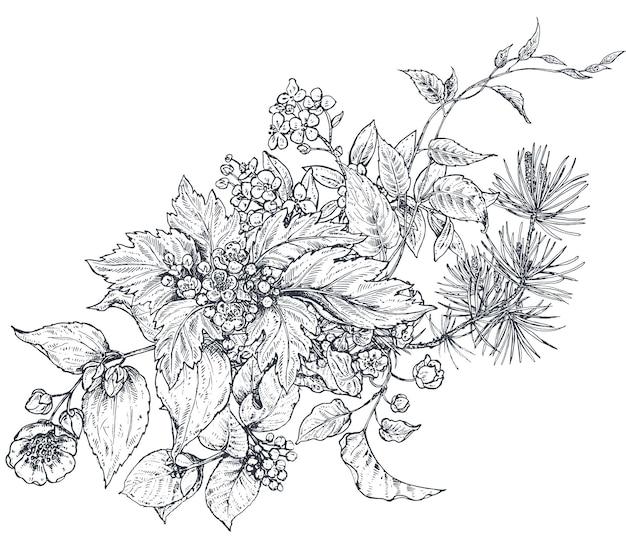 Blumenkomposition blumenstrauß mit handgezeichneten blumen blühen zweige blätter
