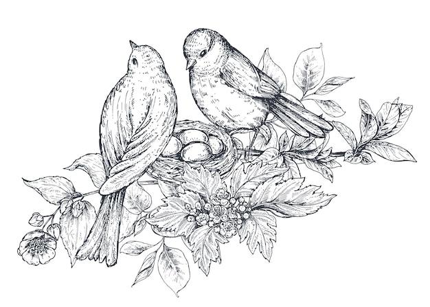 Blumenkomposition. blumenstrauß mit handgezeichneten blumen, blütenzweigen, blättern und vögeln. monochrome vektorillustration im skizzenstil.